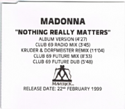 NOTHING REALLY MATTERS - UK 5 TRACK PROMO CD